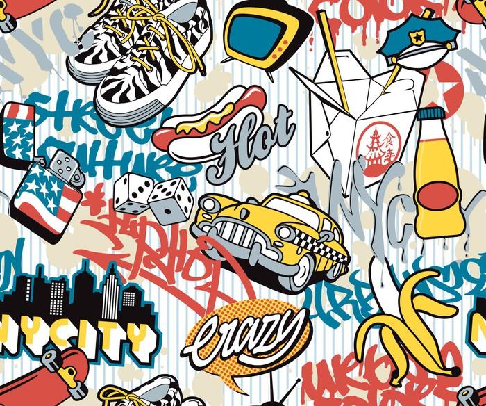 Carta da parati citt di new york elementi urbani collage for Carta da parati new york ebay