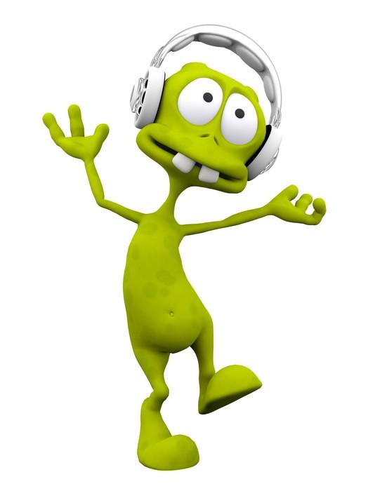 Carta da parati dj alieno cartone animato ballare con le