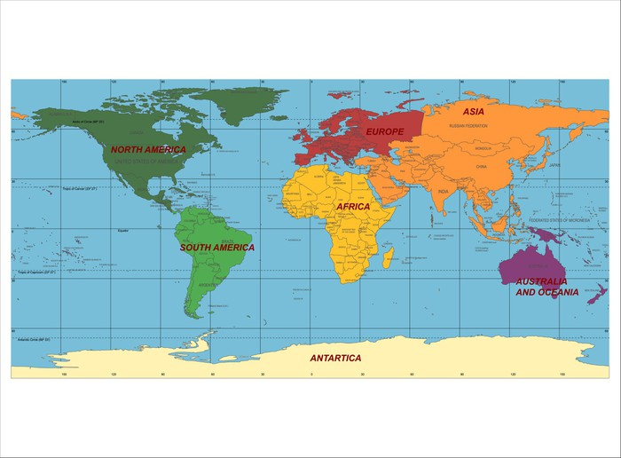 Detailed world map with names of continent and countries vector detailed world map with names of continent and countries vector wall decal gumiabroncs Choice Image
