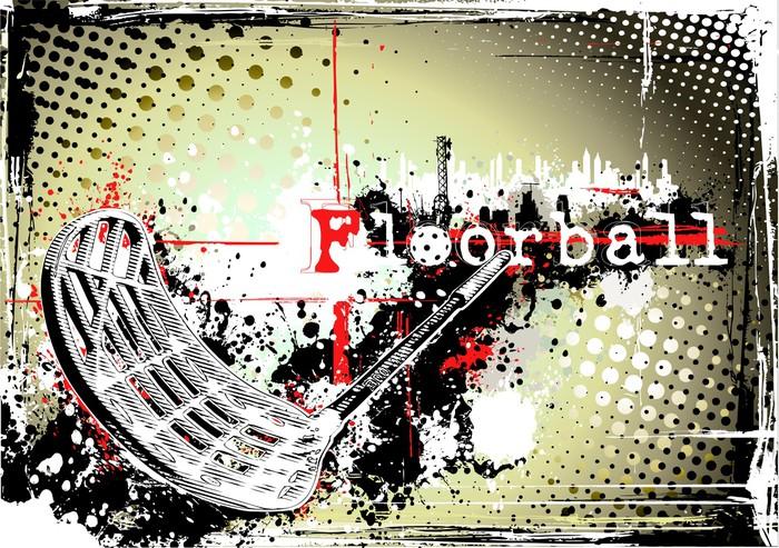 Vinylová Tapeta Horizontální špinavé florbal plakát -