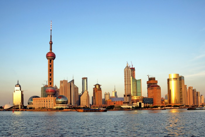 China Shanghai The Huangpu River And Pudong Skyline At Sunset Wall Mural Pixers We Live To Change