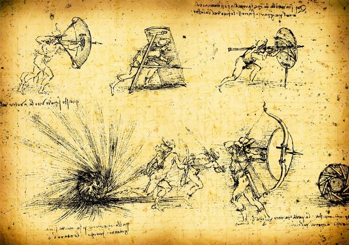Leonardo\'s Da Vinci engineering drawing Wall Mural • Pixers® • We ...