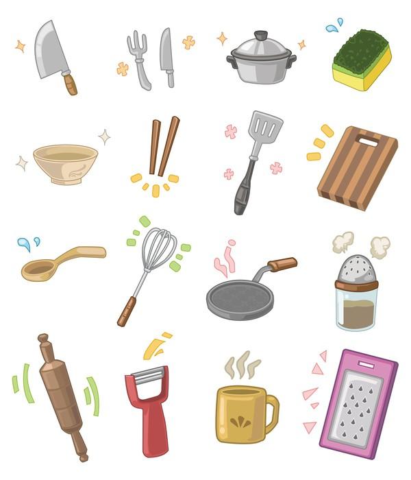 Vinilo pixerstick utensilios de cocina de dibujos animados for Objetos para cocinar