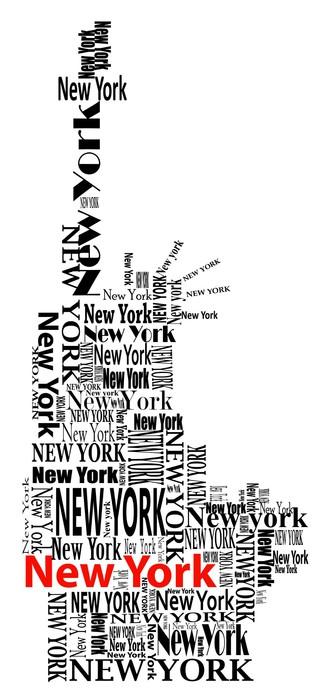 Vinylová Tapeta Abstraktní socha svobody se slovy New Yorku - Nálepka na stěny