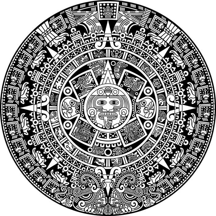 Aztec calendar wall mural pixers we live to change for Aztec mural tattoos