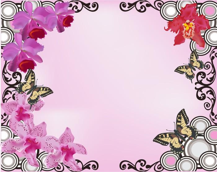 vinilo pixerstick orquídea rosada marco flores y mariposas pixers