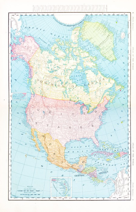 antique vintage color map of north america canada mexico usa vinyl wall mural