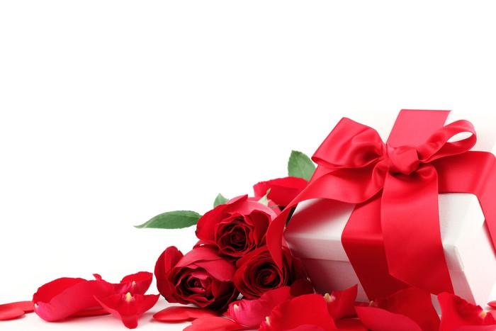 Vinylová Tapeta Dárkové krabici a růže - Mezinárodní svátky