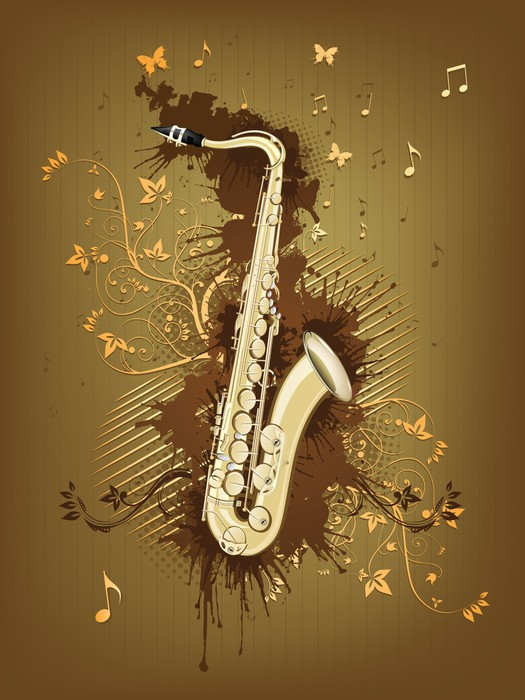 Saxophone Wall Mural • Pixers® • We live to change
