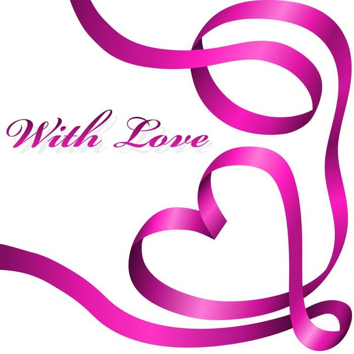 Vinylová Tapeta Růžová dekorace stuha stočený do tvaru srdce. - Mezinárodní svátky