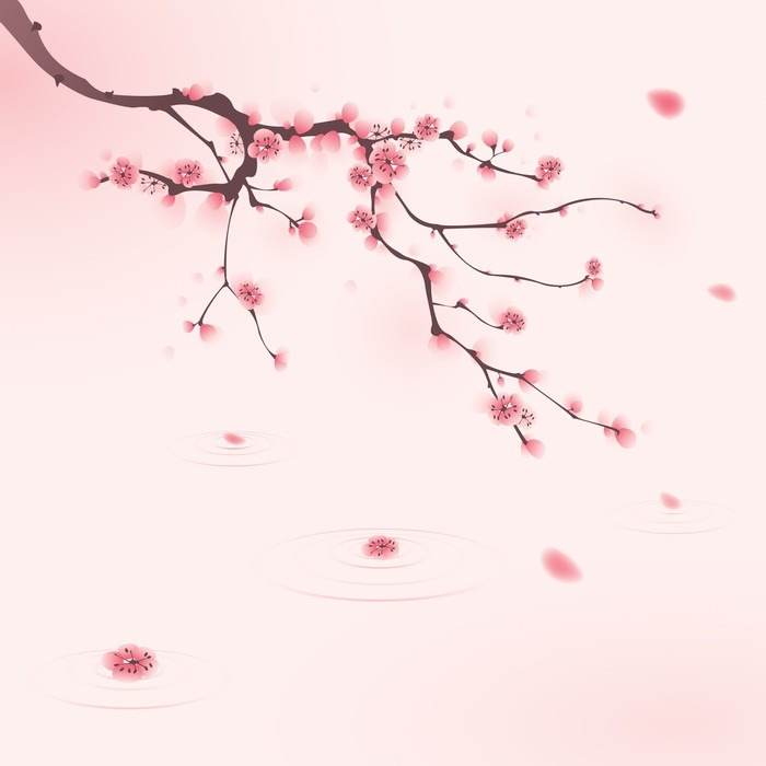 Oriental style painting cherry blossom in spring wall for Cherry blossom mural on walls