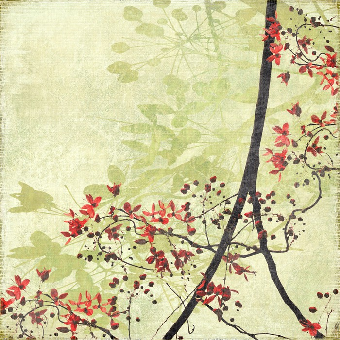 Tangled Blossom Border on Antique Paper Wall Mural Pixers We