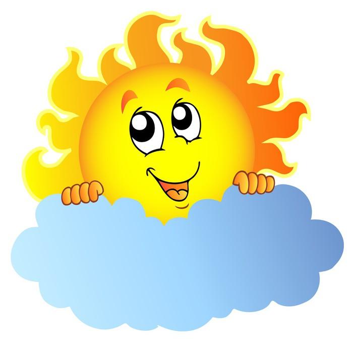 Cartoon Sun holding cloud Wall Mural • Pixers® • We live to change