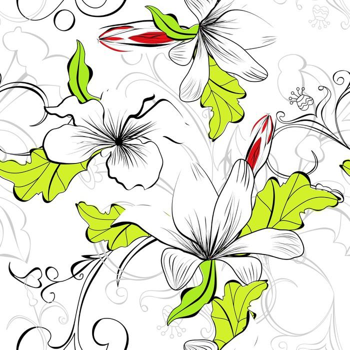 Vinylová Tapeta Bezešvé květinový vzor - Styly