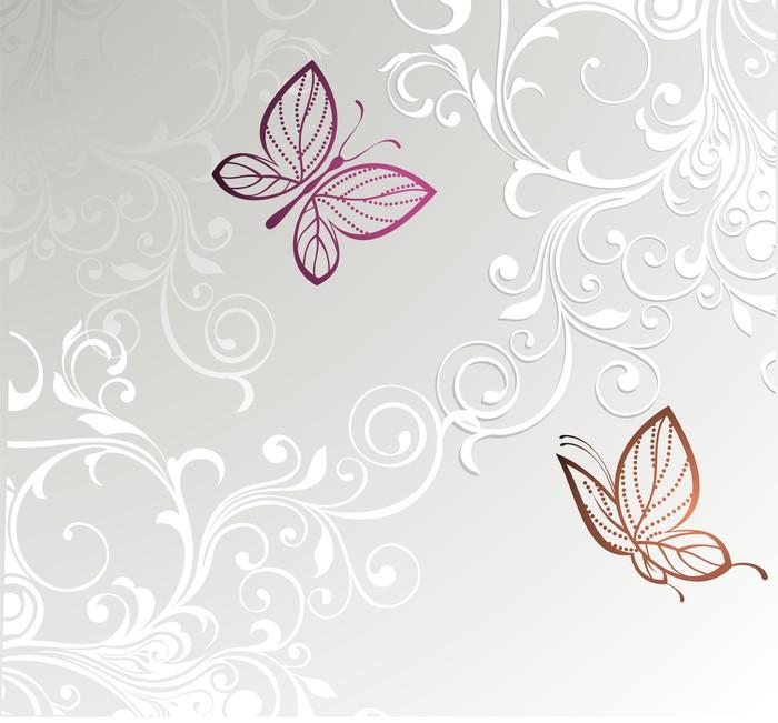 tableau sur toile carte florale avec papillons pixers nous vivons pour changer. Black Bedroom Furniture Sets. Home Design Ideas