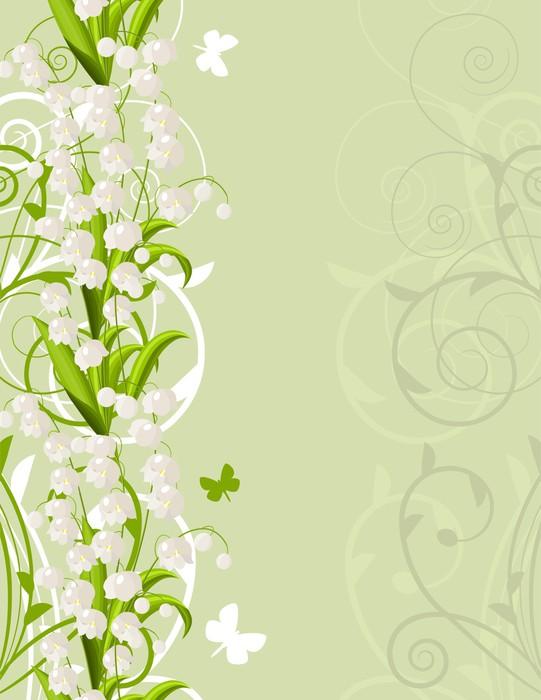 Vinylová Tapeta Vertikální růžový jarní pozadí s tulipány a mávání - Pozadí