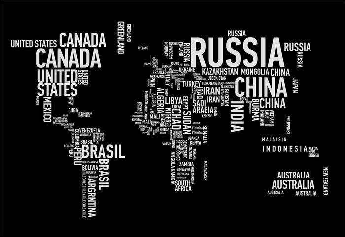 Papier Peint Vinyle Carte du monde: les pays de wordcloud - Pour les adolescents