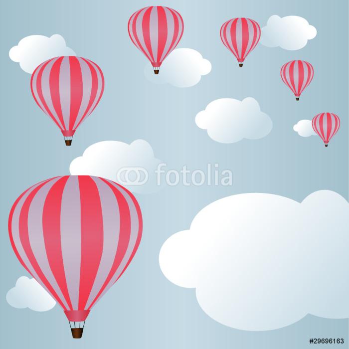 Vinylová Tapeta Horkovzdušné balóny mezi mraky na obloze - Prázdniny