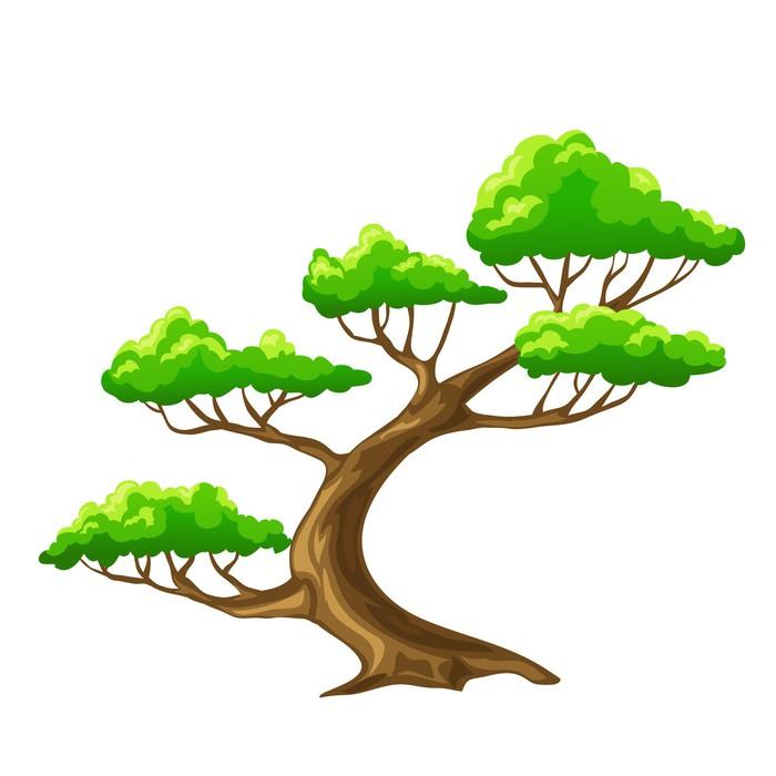 Póster Bansai Dibujo Animado Del árbol Del Vector Con El Fondo