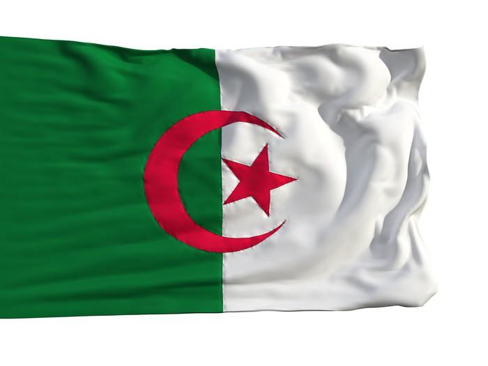 Flag of algeria fluttering in the wind pixerstick sticker africa