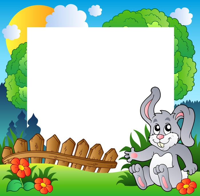 Easter frame with happy bunny Wall Mural • Pixers® • We live to change