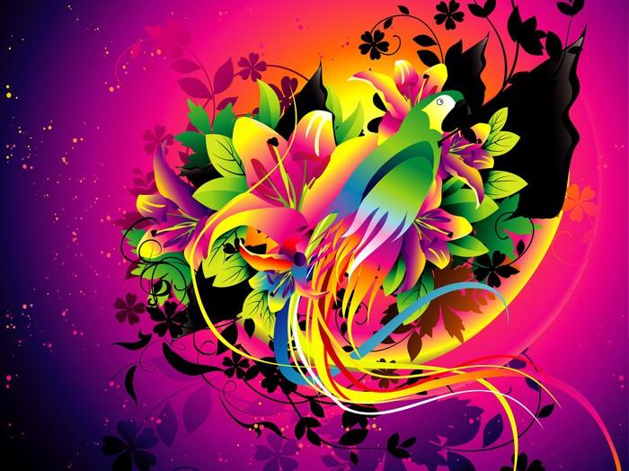 Vinylová Tapeta Papoušek barevné vektorové ilustrace - Imaginární zvířata