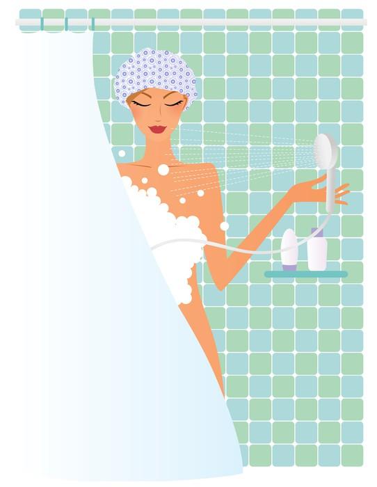 fototapete junge frau unter der dusche pixers wir leben um zu ver ndern. Black Bedroom Furniture Sets. Home Design Ideas