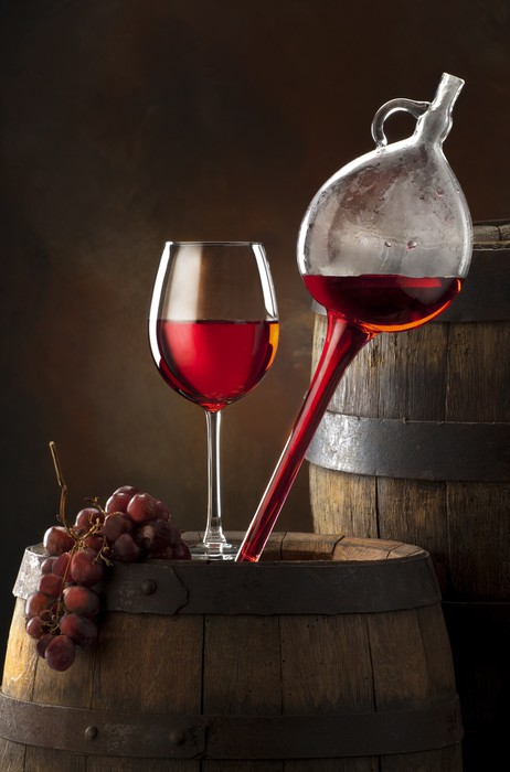 glass red wine on old barrel Wall Mural - Vinyl - Themes