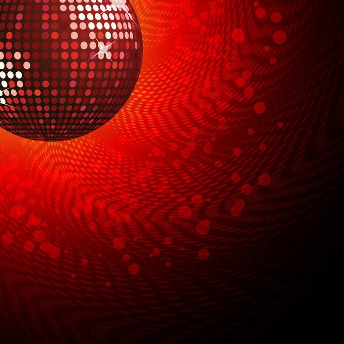 fotobehang rode hoek disco bal op een wervelende halftoon