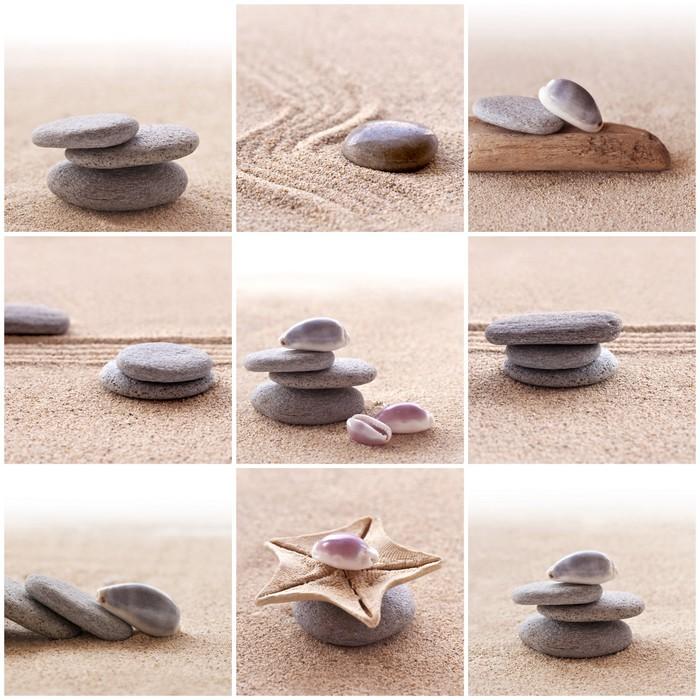 Papier peint collage de sable et galets zen pixers for Image galet zen