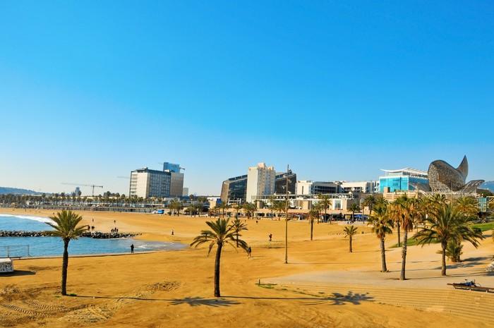 Vinylová Tapeta Pohled na pláž Barceloneta v Barceloně, ve Španělsku - Evropská města