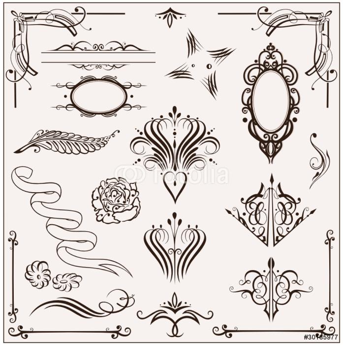 Vinylová Tapeta Konstrukční prvky kaligrafie, vector set filigránové - Značky a symboly