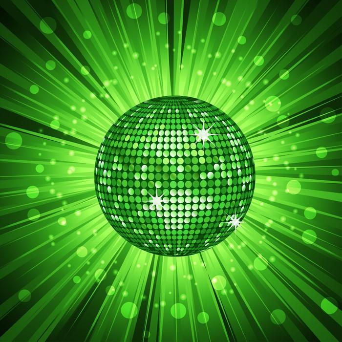 Fotomural fondo verde de la bola de discoteca pixers - Bola de discoteca de colores ...