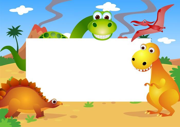 Carta da parati dinosauri cartone animato in bianco e