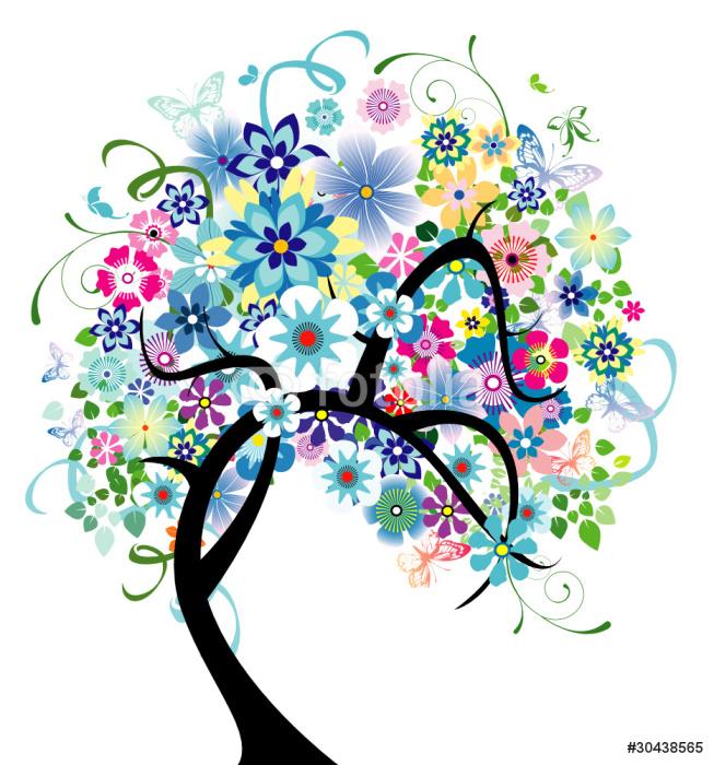 Sticker Pixerstick Bleu Arbre de floraison - Sticker mural