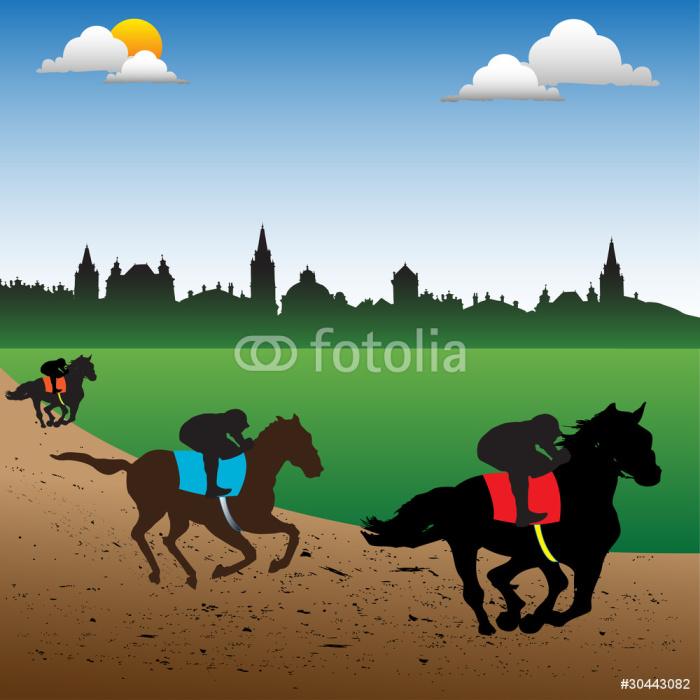 Vinylová Tapeta Závodní koně a žokeje - Savci