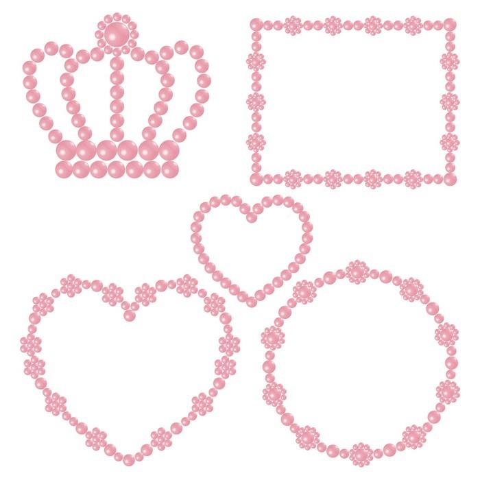 Fotomural Marco de perlas de color rosa • Pixers® - Vivimos para cambiar