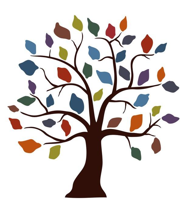 Sticker Pixerstick Feuille d'arbre de couleur - Arbres et feuilles