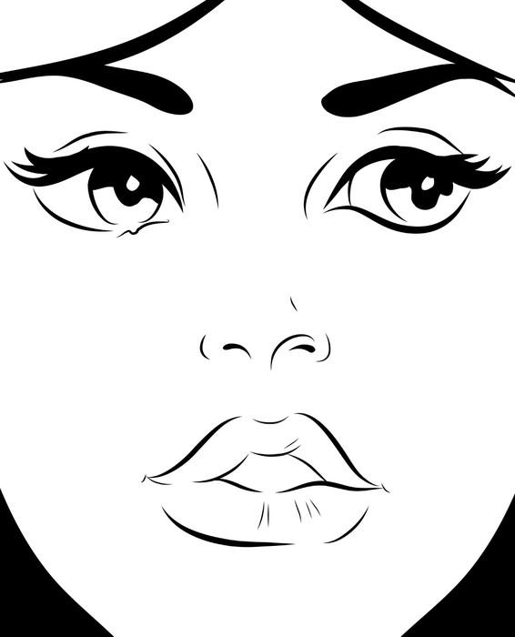 Croquis noir et blanc visage femme gros plan wall mural - Poster mural noir et blanc ...