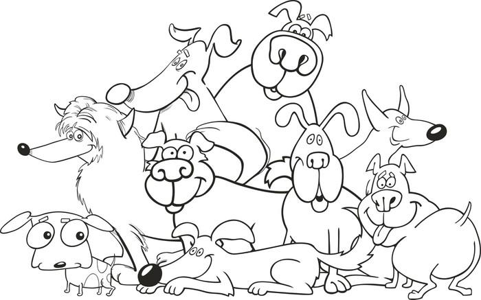 Vinilo Pixerstick Perros de la historieta de grupo para colorear ...