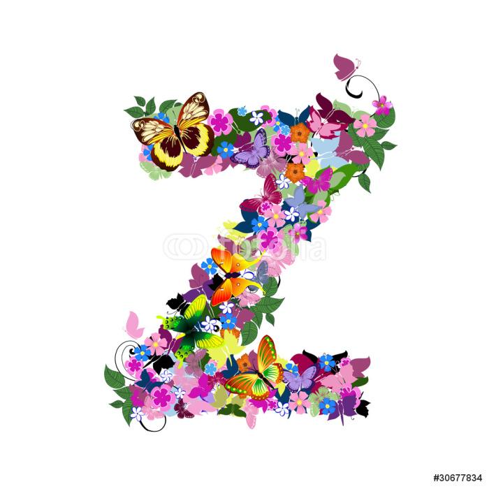 Vinylová Tapeta Dopis vzor motýlů a květin Z - Umění a tvorba