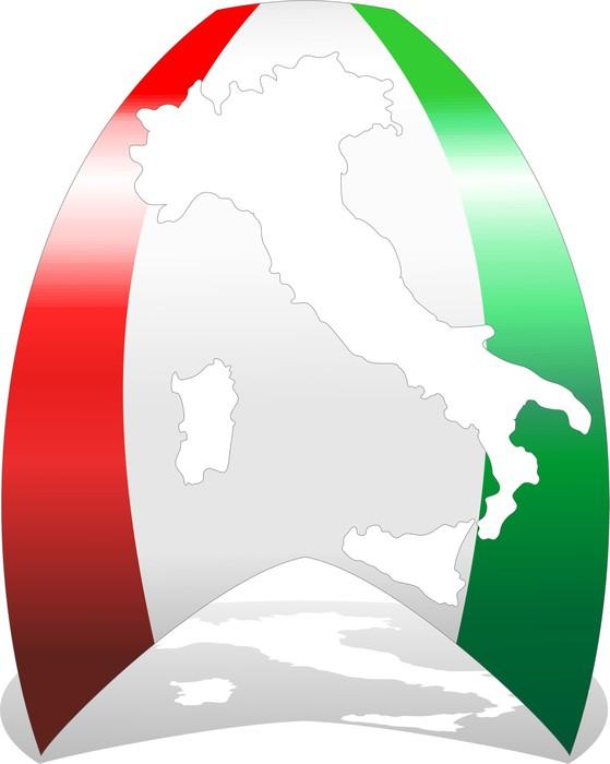 Vinylová Tapeta Italia 150 ° Nastro Tricolore-Flag Itálie a Map-Vector - Evropa