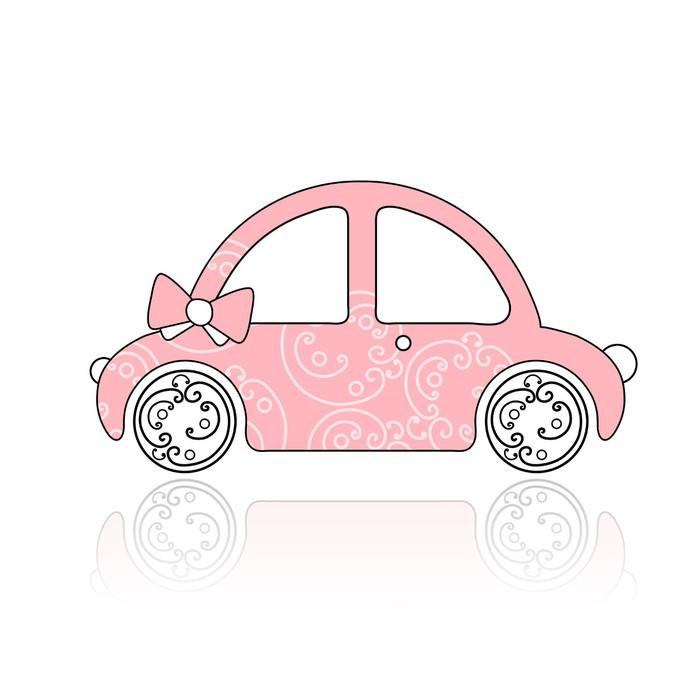 Fototapete Rosa weibliche Auto mit floralem Ornament für Ihren ...