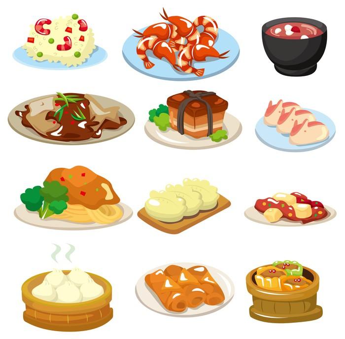 Fotomural dibujos animados icono de comida china pixers for Pataka bano food mat