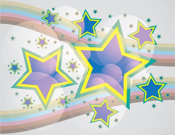 Vinylová Tapeta Abstraktní hvězdy na duhové pruhy na pozadí - Témata
