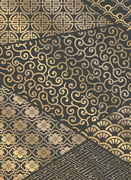 papier peint mod les japonais tiquette de patchwork. Black Bedroom Furniture Sets. Home Design Ideas
