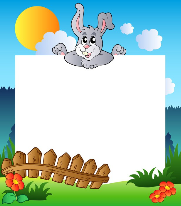 Easter frame with lurking bunny Wall Mural • Pixers® • We live to change