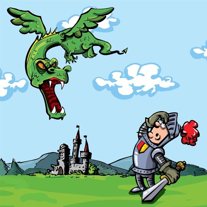 Vinylová Tapeta Cartoon rytíř napadl drak - Zlost
