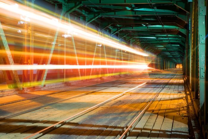 Vinylová Tapeta Vlak rychlost na mostě ve Varšavě - Témata