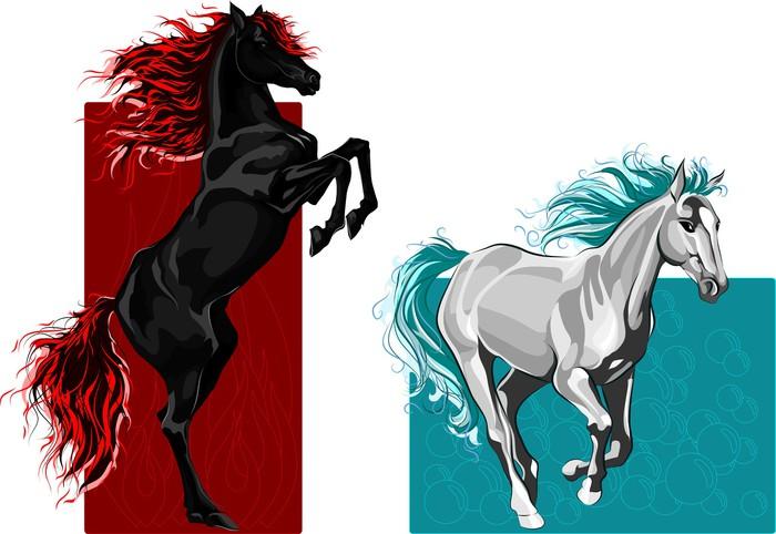 Papier peint deux chevaux le feu et l 39 eau pixers - Papier peint chevaux pour chambre ...
